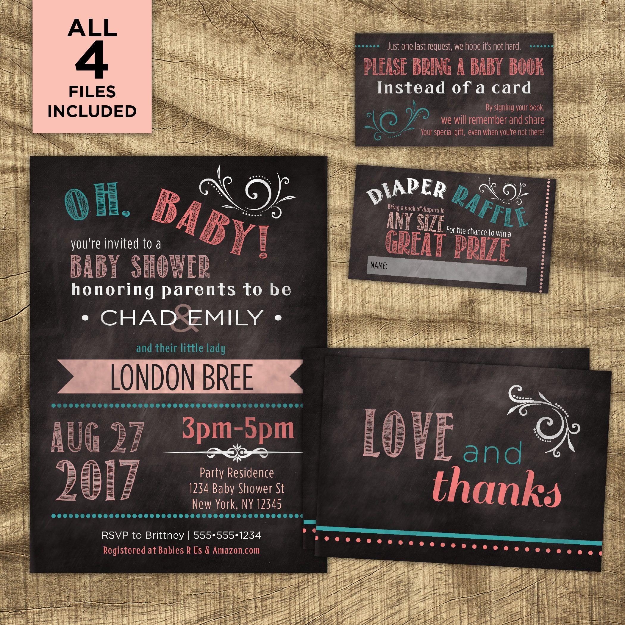 Baby Girl Shower Invitation kit Co-ed Baby Shower Kit | Baby Shower ...