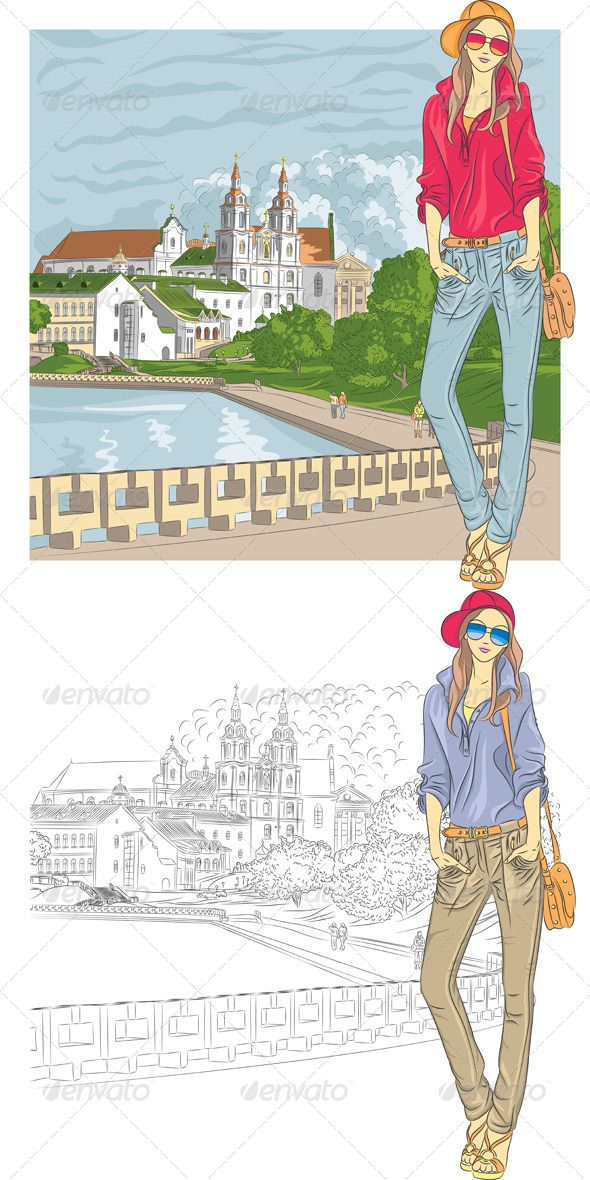 Vector Sketch of a Fashion Girl in the Old City  #GraphicRiver         Vector sketch of a fashion stylish girl in jeans, jacket, cap with glasses and bag in the old city, Trinity Suburb, Minsk, Belarus  	         	 More pictures peoples for you and      More travel pictures for you:  	       Created: 1August13 GraphicsFilesIncluded: JPGImage #VectorEPS Layered: Yes MinimumAdobeCSVersion: CS Tags: Belarus #Minsk #TrinitySuburb #architecture #bag #cap #church #city #cityscape #fashion #girl…