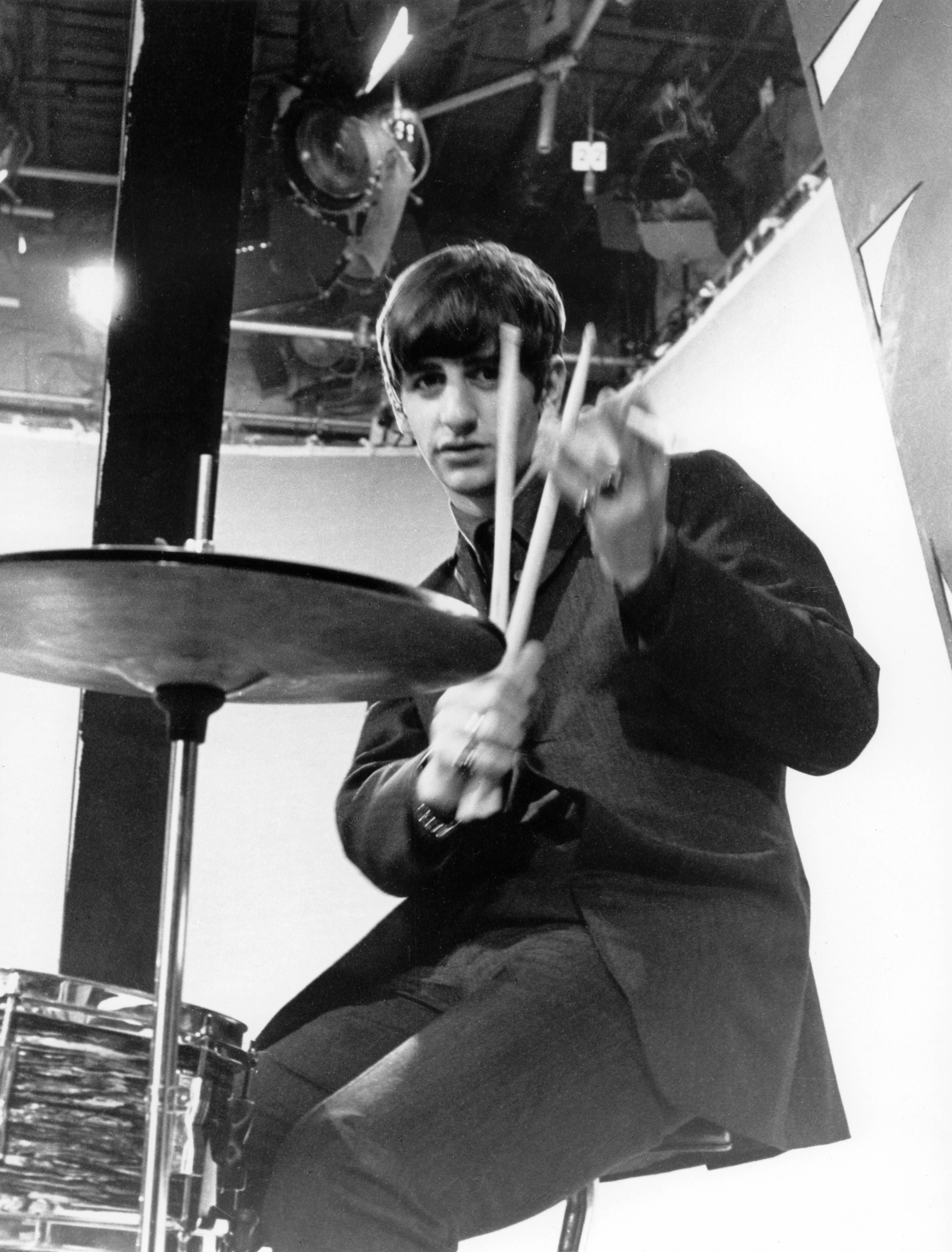 Ringo Starr With The Beatles Posed Holding Drum Sticks At Alpha