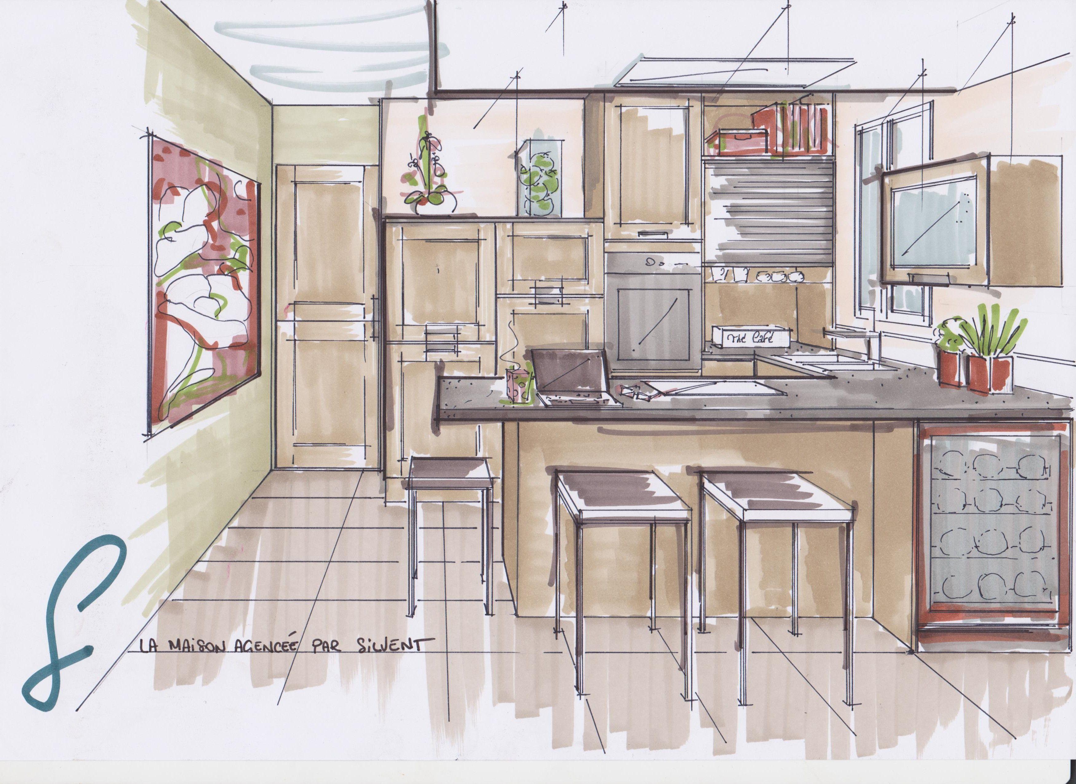 Croquis cuisine fashion sketch pinterest interior for Dessiner ma salle de bain en 3d