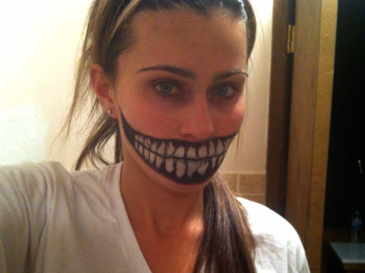 Halloween makeup, scary smile makeup, scary makeup, big smile ...