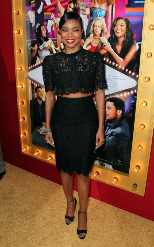 """Gabrielle Union wore Dolce & Gabbana black lace set paired with Brian Atwood """"Leida"""" black satin ankle strap pumps,Think Like A Man Too  Premiere"""