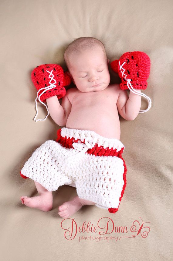 Baby boxer set crochet baby boxing gloves set by pinkpoppiesstudio