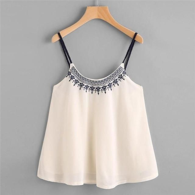 22325593936 Embroidery Camis Women Casual Spaghetti Strap Sleeveless Loose Crop Top  Material  Polyester Tops Type  Camis Clothing Length  Short Pattern Type   Print ...