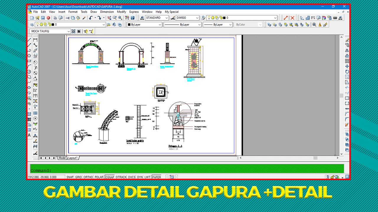 Download Gambar Kerja Gapura Dwg Autocad Dan Detail Lengkap Di 2021 Autocad Keamanan Rumah Gambar