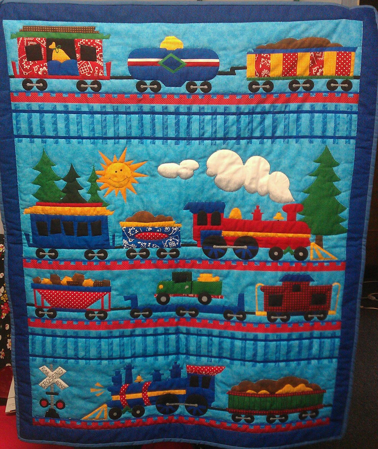 Hand quilted baby boy train quilt quilts fabrics for Kids train fabric
