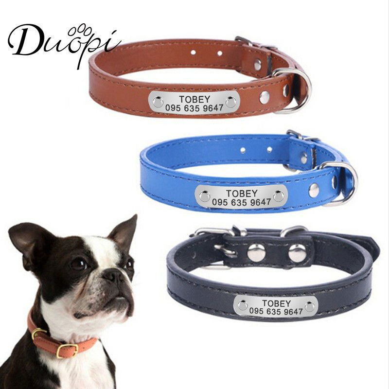 Personalized Leather Dog Collar Custom Cat Dogs Name Phone Id Free Engraving Duo Personalized Leather Dog Collar Leather Dog Collar Custom Leather Dog Collars