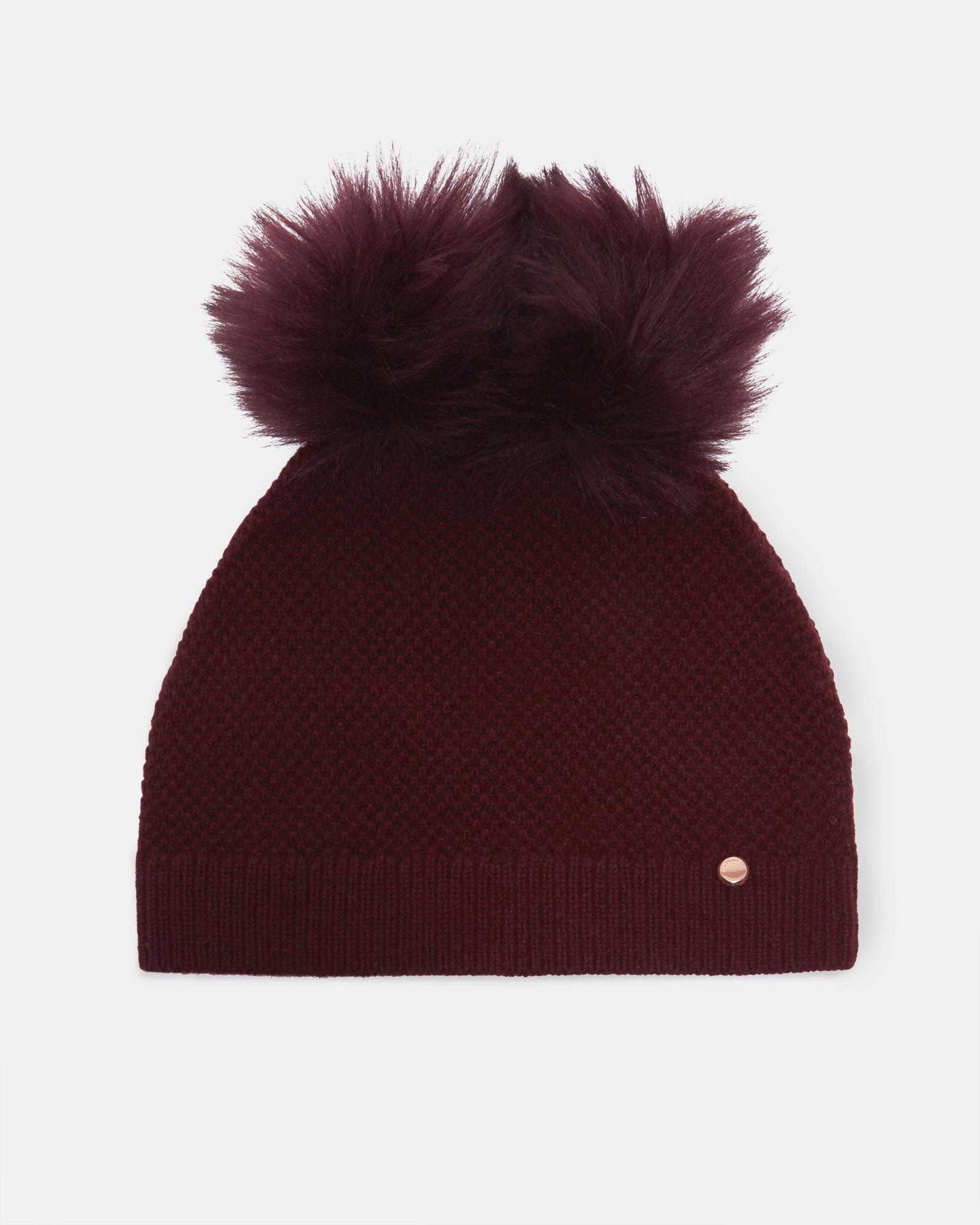 Ted Baker Double pom-pom hat Oxblood  e0c561ef3bc