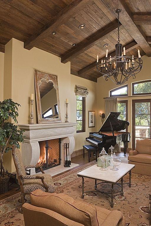 Wooden Furniture Living Room Designs: Warm And Elegant Living Room; Wood Vaulted Ceiling #Home