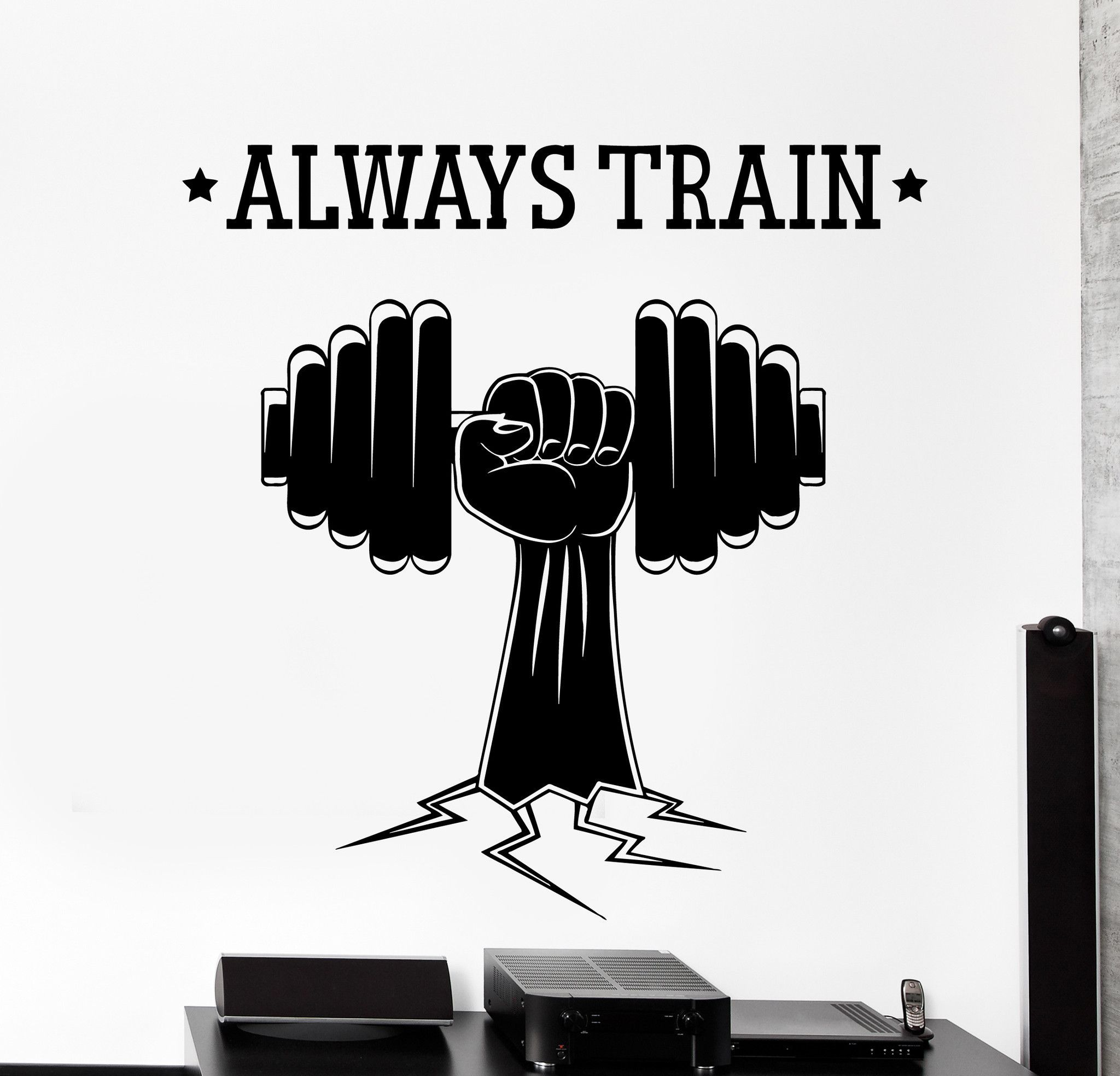 Wall Vinyl Decal Fitness Bodybuilding Sport Dumbell Home