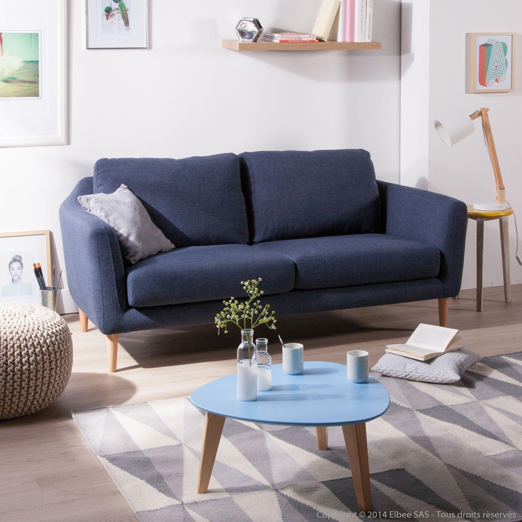 Canap Fixe Tissu Pieds Bois Style Scandinave Hej Kaligrafik  # Canape D'Angle Style Scandinave Bleu