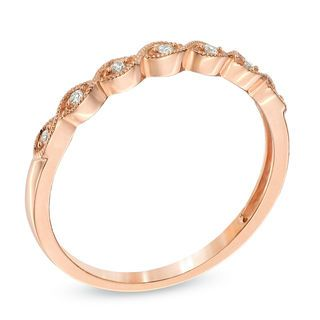 Zales Diamond Accent Milgrain Anniversary Band in 10K Rose Gold