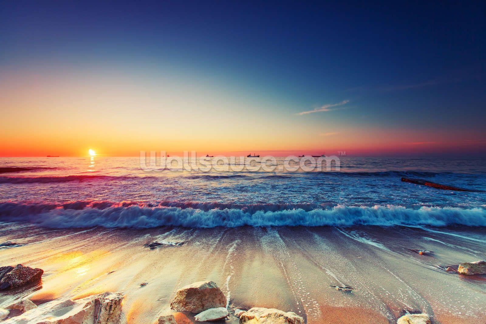 Colourful Sunrise Over The Sea Beautiful Landscape Wallpaper Landscape Wallpaper Sunrise Colors