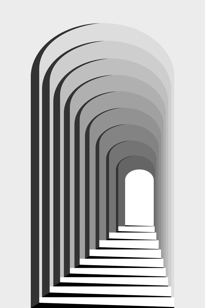 Abstract Black and White Geometric Pattern with Colonnade. Architectural Light and Shadow