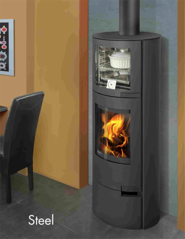 The Lugo Wood Cook Stove. This contemporary wood cook stove is sleek, and stylish by nature. The stacked wood oven over the firebox allows for a compact footprint, while the large glass firebox view of the dancing flame is sure to please. #modernwoodcooking #contemporarycookrange #woodcookstove #woodfiredoven #woodcooking