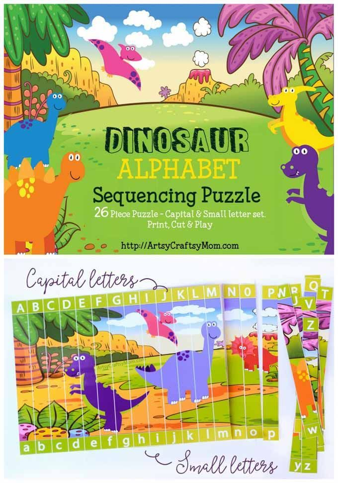 Printable Dinosaur Alphabet Sequencing Puzzle | Learning | Pinterest