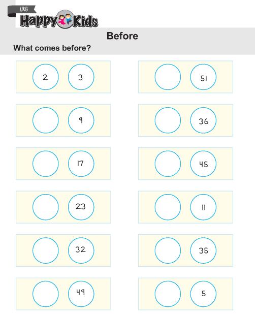 Kindergarten Maths Before After Between Httppreschool