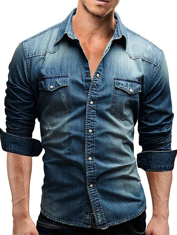 a88f8ace592  6.0 AUD - Men Slim Fit Button Down Jeans Shirt Tops Casual Long Sleeve  Denim Tee Shirts  ebay  Fashion