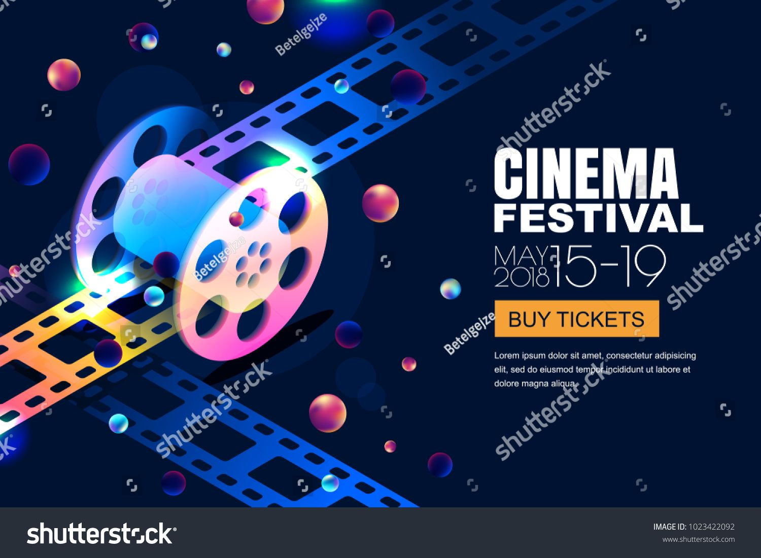 Vector glowing neon cinema festival banner  Film reel in 3d