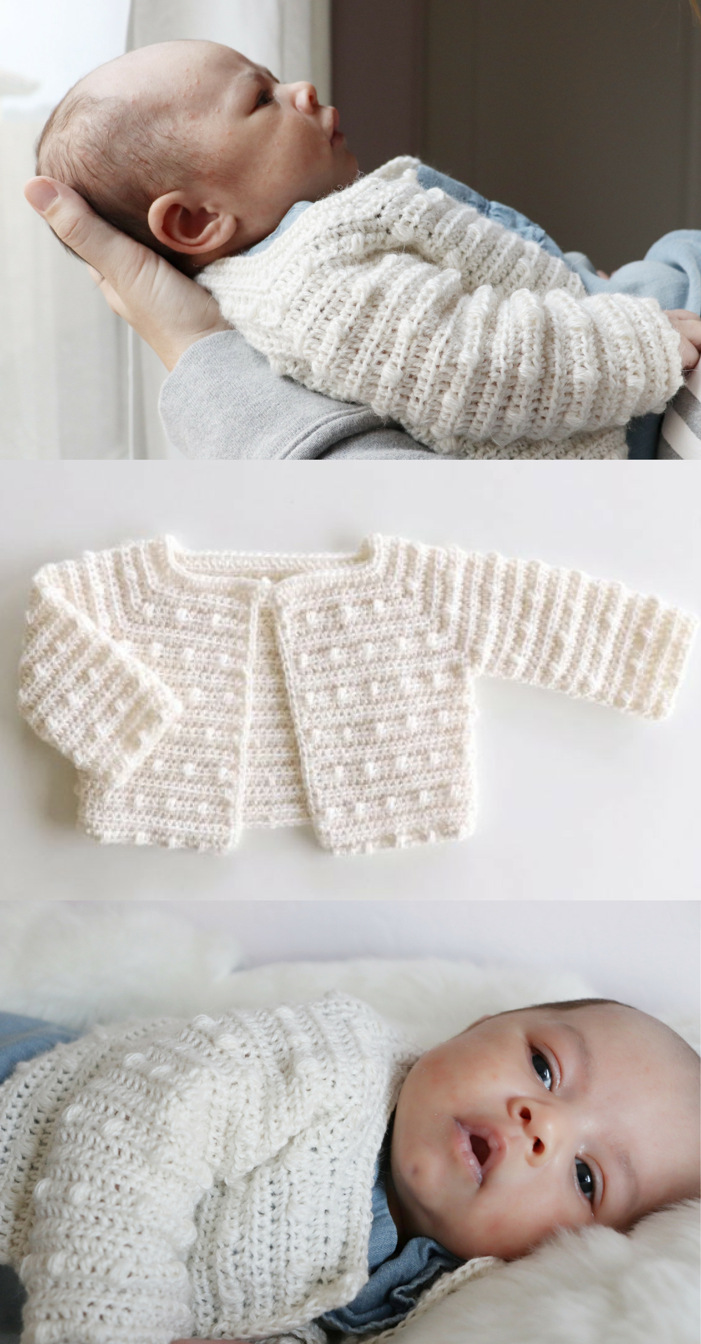 Free Crochet Pattern - Scattered Dots Baby Sweater