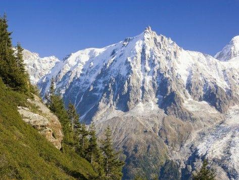 Aiguilles de Mont Blanc, Aguilles du Midi and Glacier des Bosson Fotografisk trykk