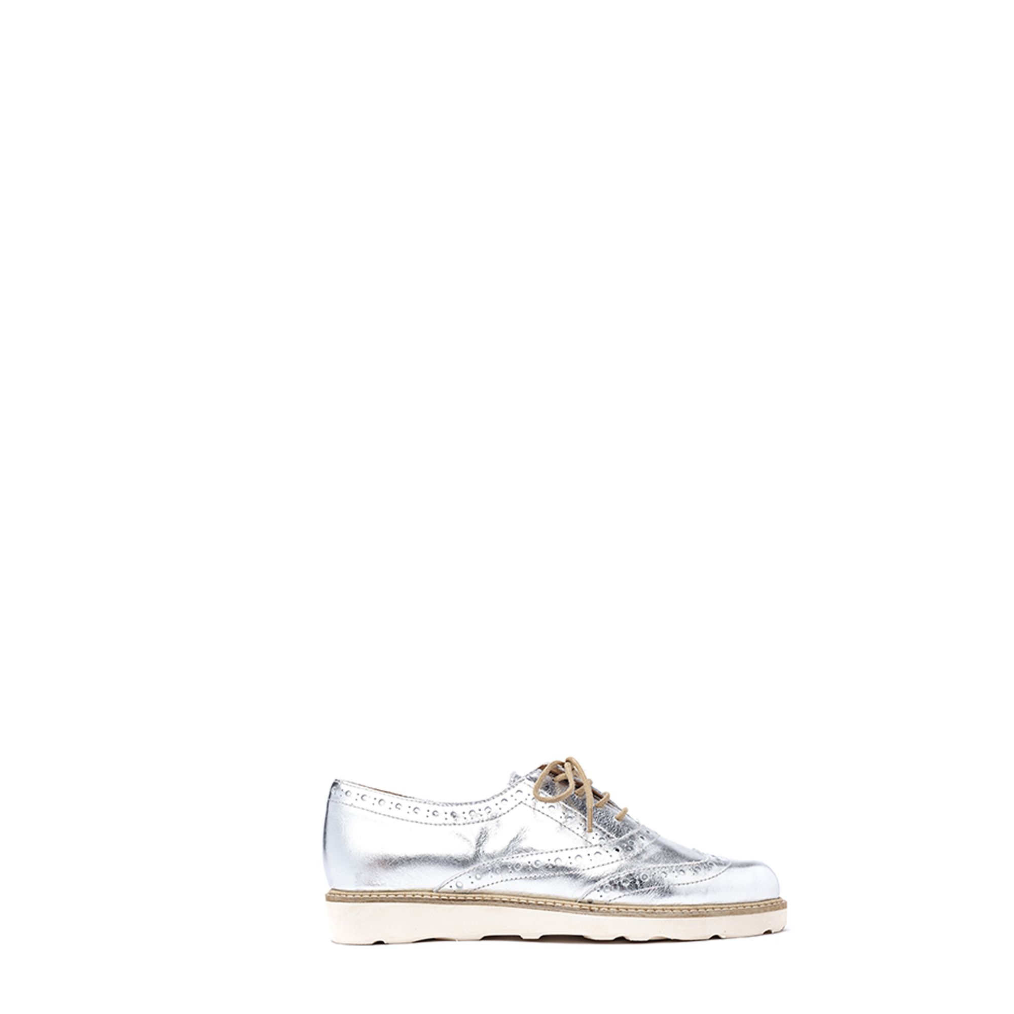 The perfect shoe to keep up with springs hottest trend, metallics. The Sartorial classic style is mixed with silver leather, and a platform sole, for easy summer elegance.  Color: SILVER