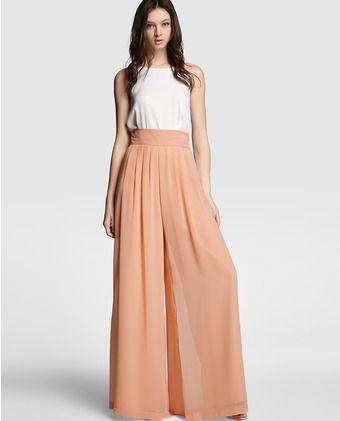 Pantalón ancho de mujer Easy Wear de gasa en nude Pantalones De Gasa 4310df59057