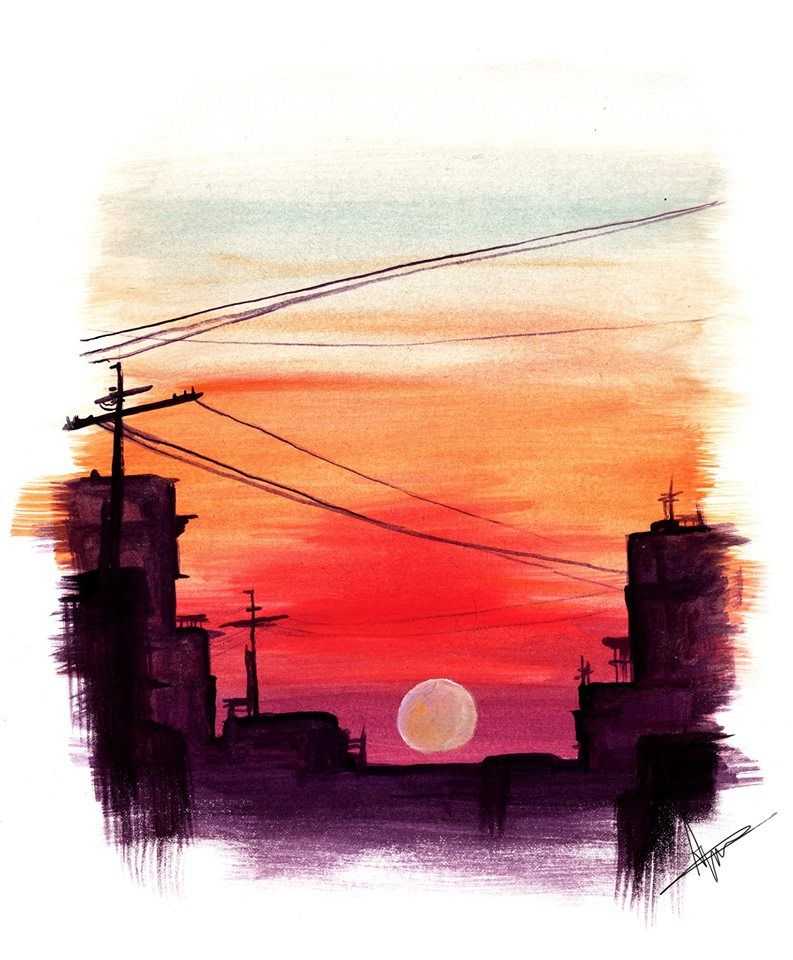 Watercolor Sunset Painting Print Dessin Paysage Peinture