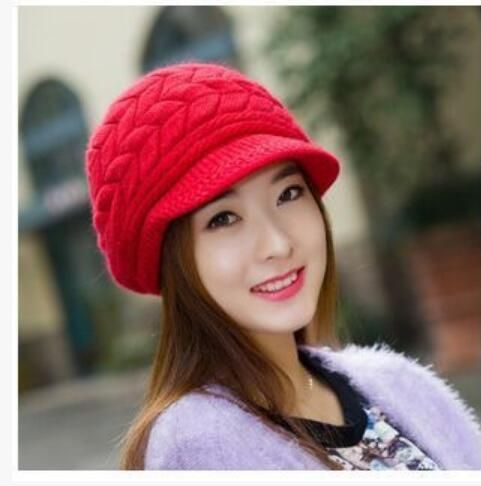Elegant Womens Winter Rabbit Fur Hat Female Fall Knitted Hats For Woman Cap  Autumn And Winter Ladies Fashion Skullies Beanies 86ab737c2cdb