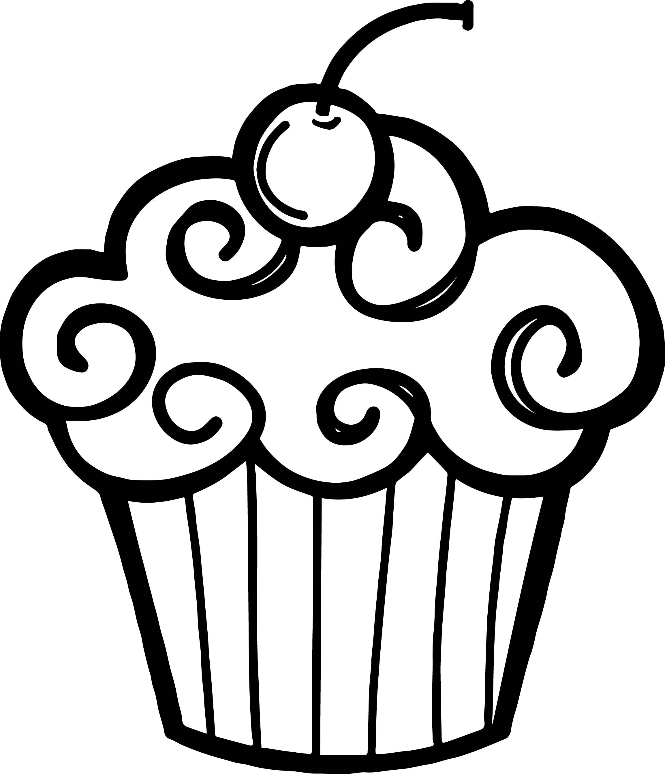 free black and white cupcake clipart(2306×2681