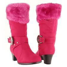 Hot Pink Faux Fur Boots Kids High Heel Shoes Kid Shoes High Heels For Kids