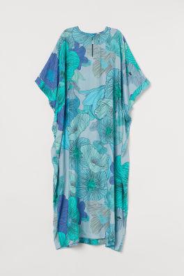 Large Flowered Kaftan Turquoise Floral Ladies H M Us In 2020 Floaty Maxi Dress Kaftan Casual Frocks