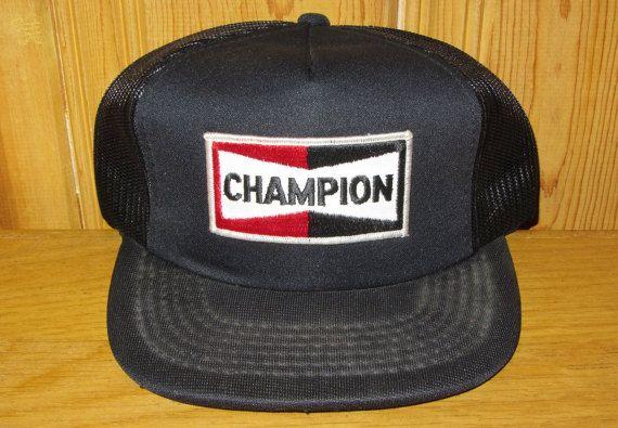 97af8398030b7 CHAMPION Spark Plugs Original Vintage 80s Black Snapback Trucker Hat    HatsForward