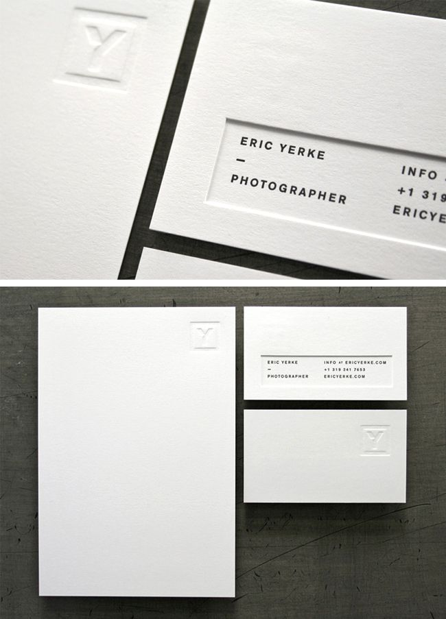 Pin by zach steria on business card pinterest business cards and elegant and minimalist embossed business cards for wedding photographer eric yerke printing by studio on fire reheart Image collections