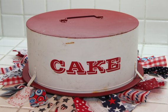Vintage Cake Plate Red Painted Metal Cake Carrier by trinkets818, $32.00