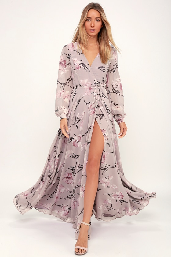 97d0c84622b71 Lulus | Loving You Dusty Purple Floral Print Long Sleeve Wrap Maxi ...