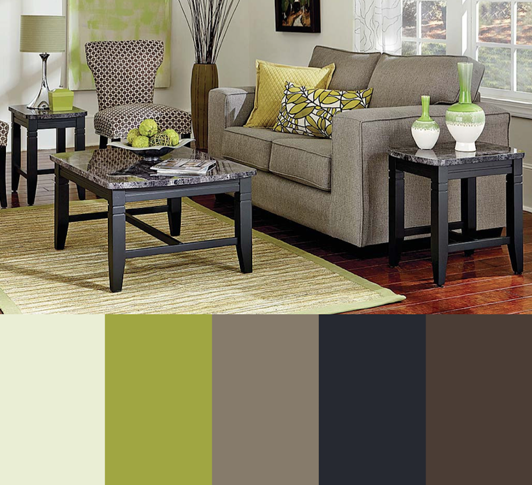 Sherbert Lime Green Brown Navy Black Clay Living Room Color Scheme American Freight Furniture And M Living Room Green Blue Living Room Living Room Color