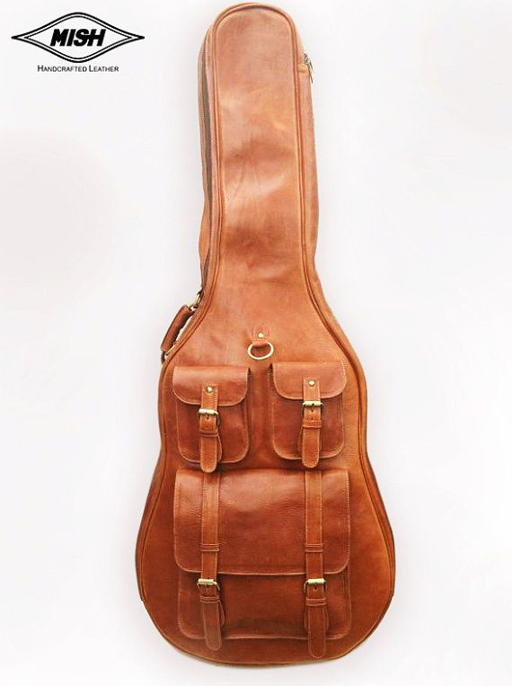 Leather Guitar Case Soft Case Guitar Bag Leather Case Personalization Name Band Logo Engraving Added Guitar Case Guitar Bag Acoustic Guitar Case