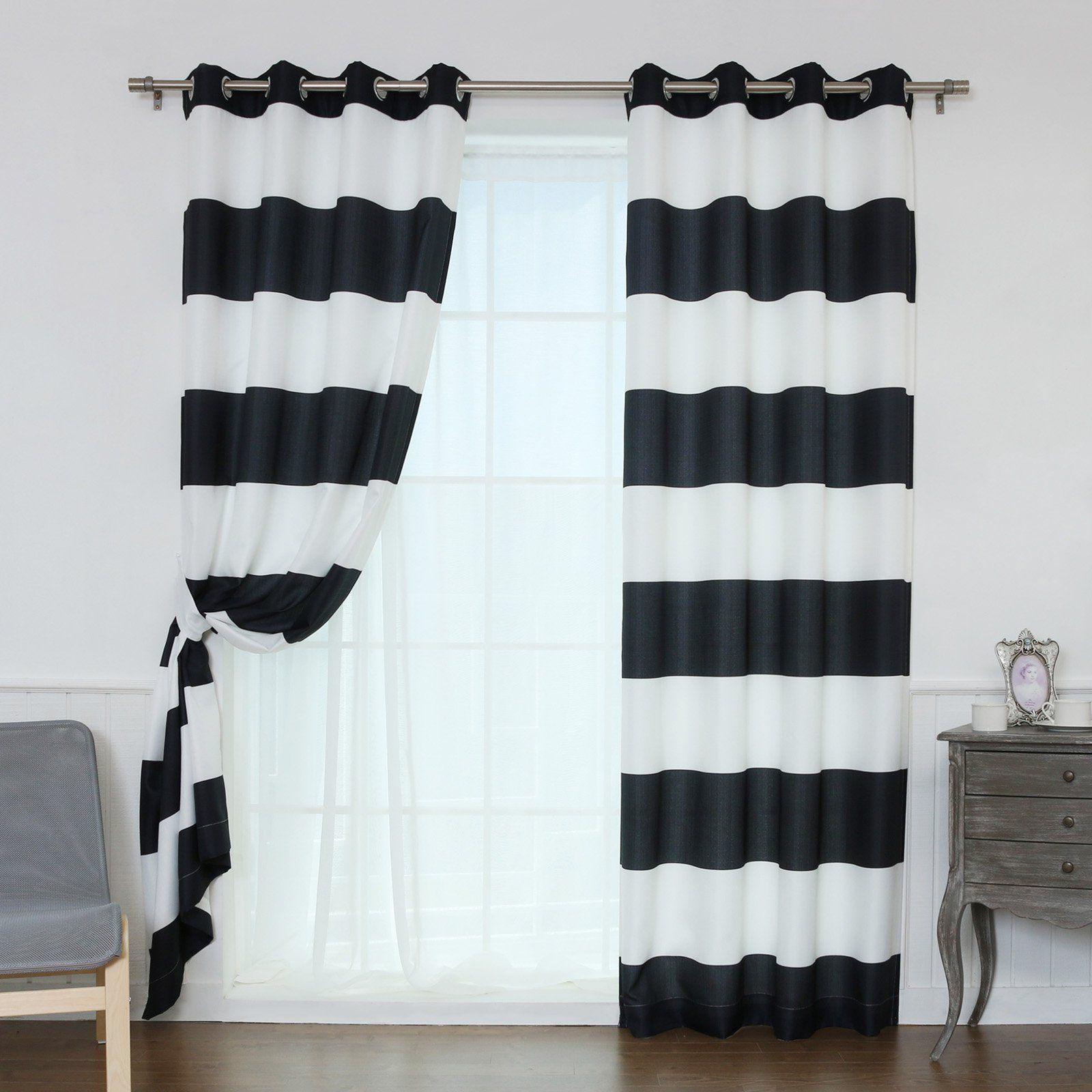 Best Home Fashion Rugby Stripe Room Darkening Curtain Pair