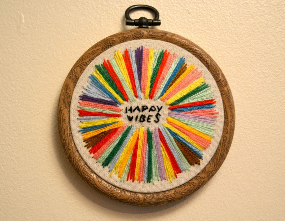 Happy Vibes Embroidery Hoop by crosswitches on Etsy