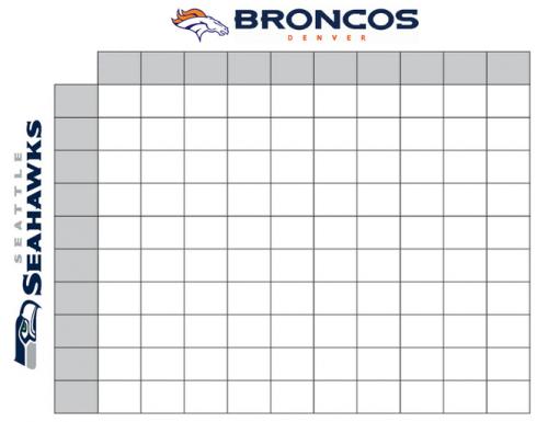 Denver Broncos Seattle Seahawks 2014 Printable Football
