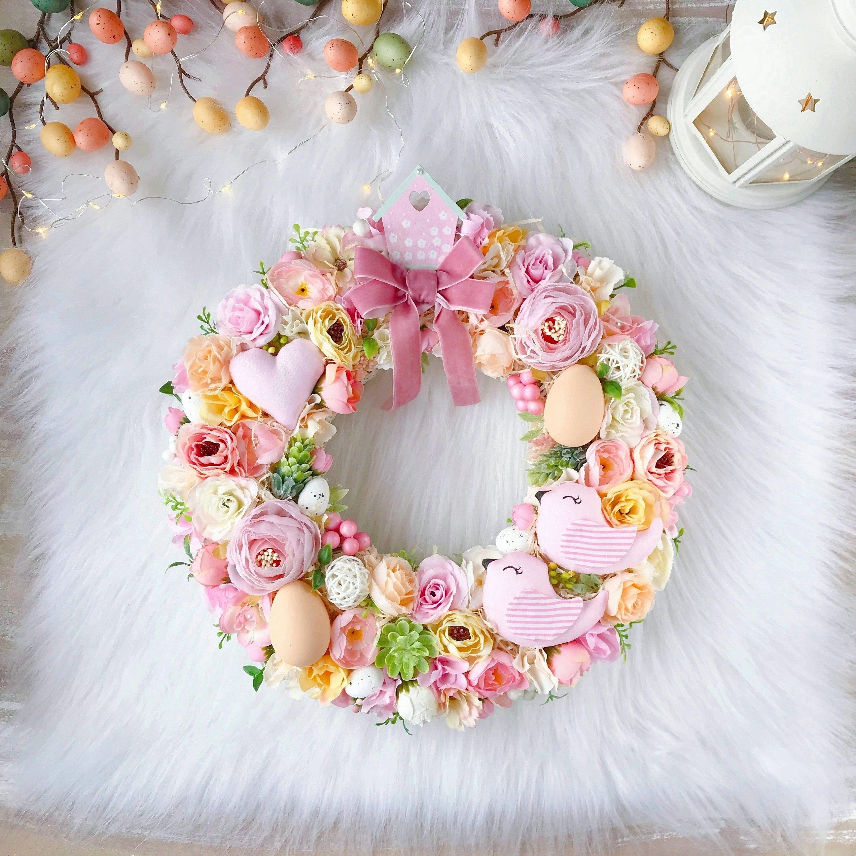 Photo of Cute Pink Peach Easter Wreath 12″ Front Door Spring Wreath Pink Foyer Wreaths Easter Decorarion Home Decore Easter Egg Wreath Small wreath