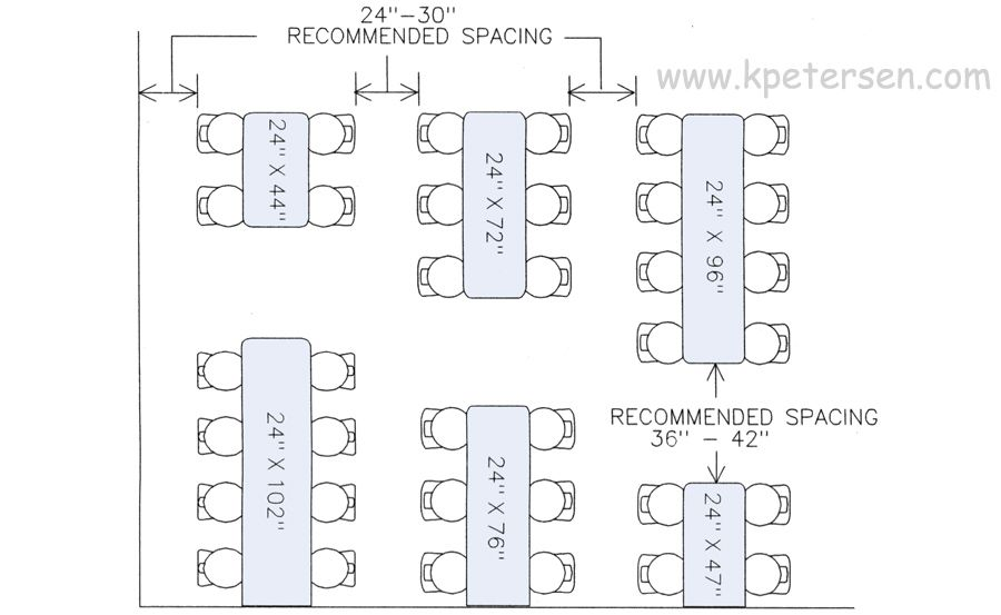 Restaurant Table Spacing Drawing Plan View Visual