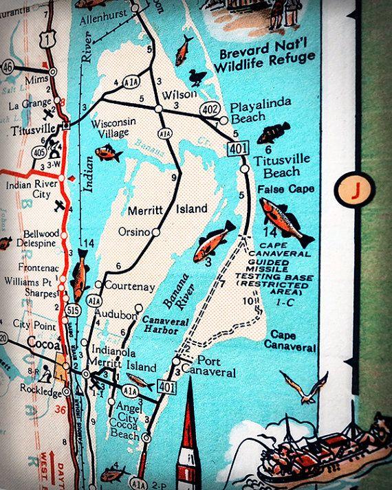 Merritt Island Cape Canaveral Titusville Retro Beach Map Print Funky