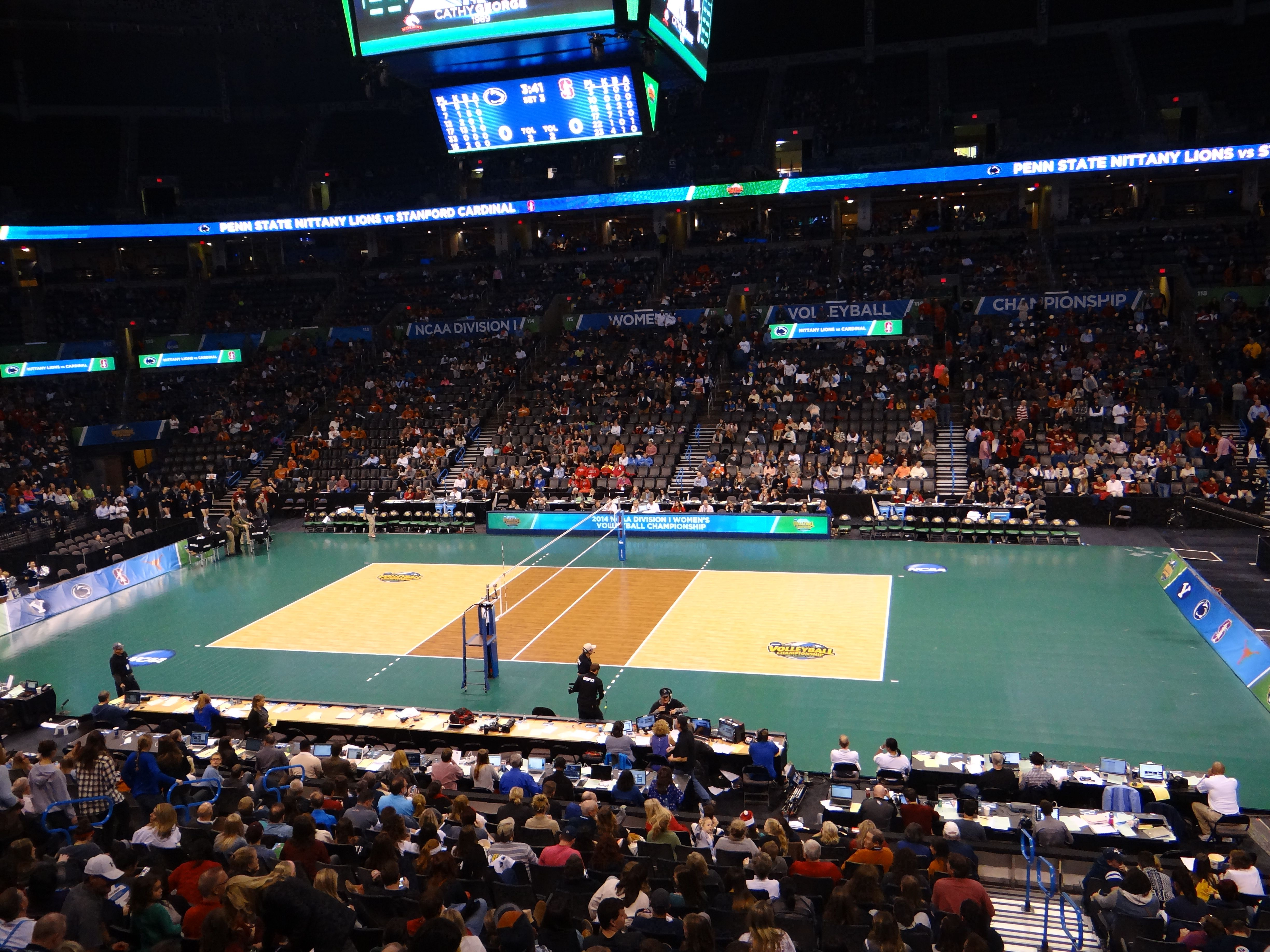 Sport Court Transforms Chesapeake Energy Arena For Ncaa Di Volleyball Championship Sport Court Sports Court Flooring Sport Court Home Basketball Court