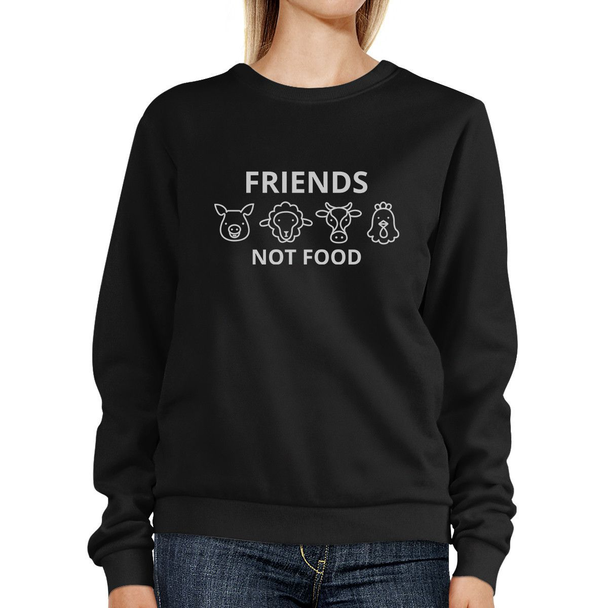 Friends Not Food Black Sweatshirt Cute Animal Graphic For Earth Day