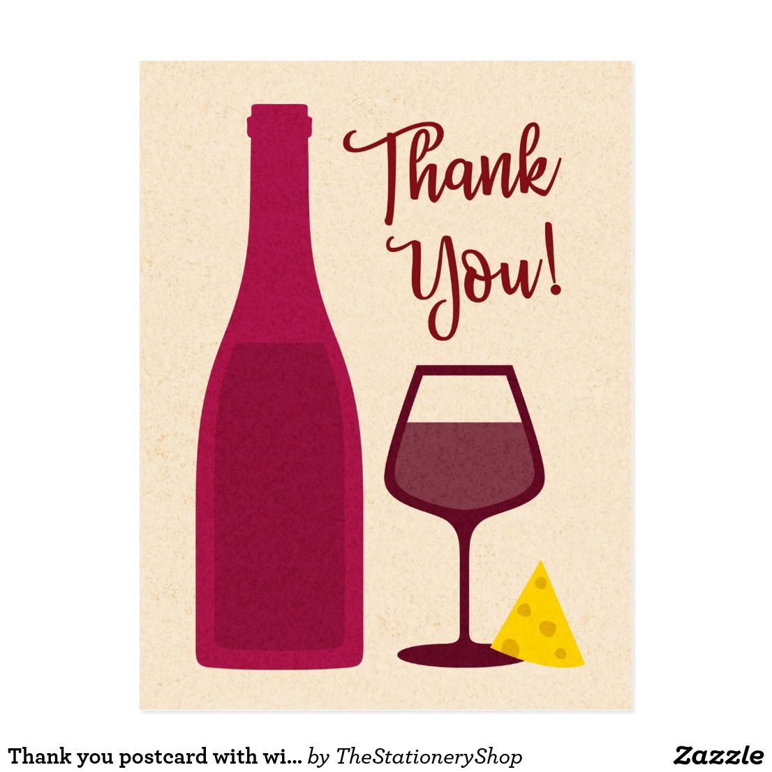 Thank You Postcard With Wine Bottle Glass Cheese Zazzle Com Wine Purse Thank You Postcards Wine Bottle