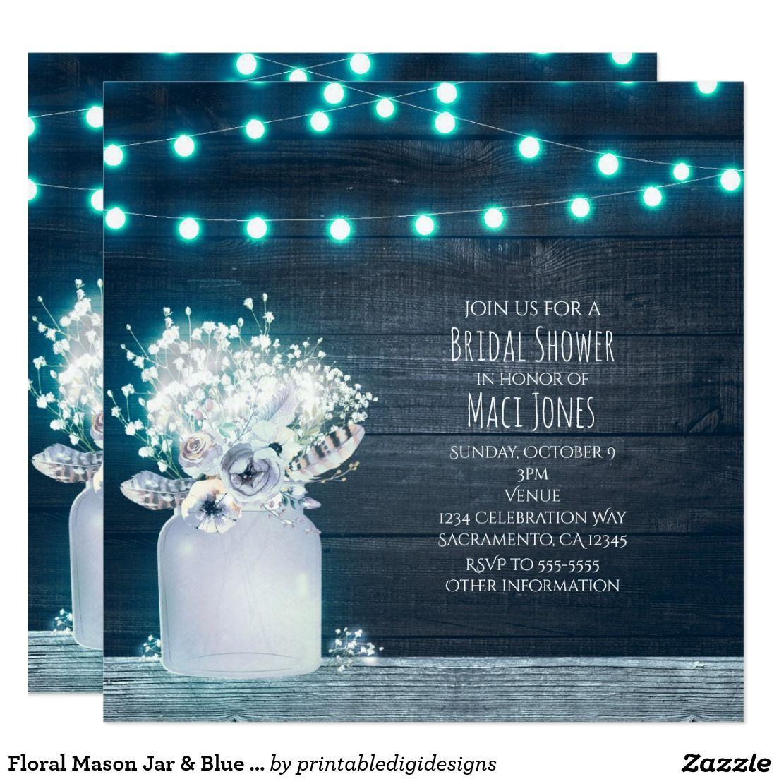 Floral Mason Jar & Blue Lights Rustic Invitations