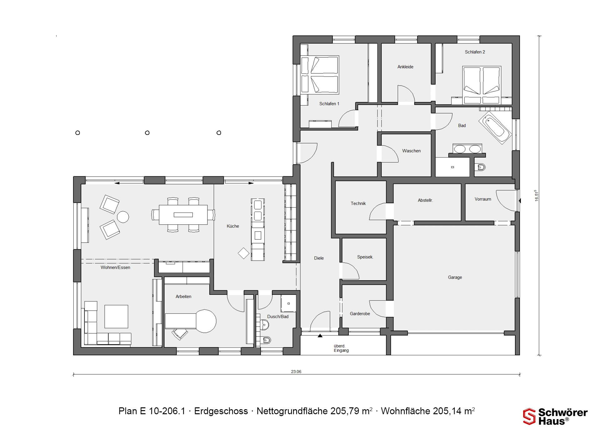 Grundriss erdgeschoss e 10 206 1 bungalow in l form - Bungalow l form ...