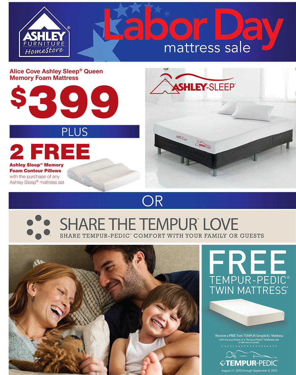 labor day mattress sale purchase ashley sleep queen memory foam